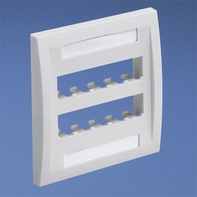 Panduit CFPE10EI-2GY Mini-Com® 2-Gang Flat Faceplate; Screw, (10) UTP, STP, Fiber-Optic, A/V Port, ABS, Electric Ivory