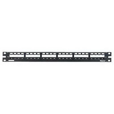 Panduit CP24WSBLY Mini-Com® Mini-Com Flat Modular Patch Panel With Strain Relief Bar; 24-Port, 1-Rack Unit, Black