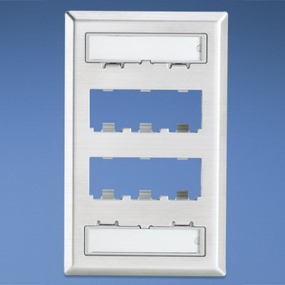 Panduit CFPL6SY Mini-Com® 1-Gang Faceplate; (6) UTP, STP, Fiber-Optic, A/V Port, Stainless Steel
