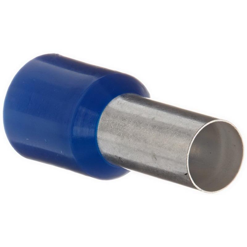 Panduit FSD84-12-C Single Wire DIN End Sleeve Ferrule; 6 AWG, 5/8 Inch Strip, Polypropylene, Tinned, Blue