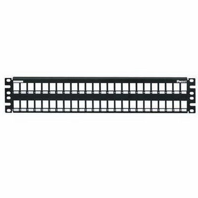 Panduit NKMP48Y NetKey® Category 6 Modular Patch Panel; Screw Mount, 48-Port, 2-Rack Unit, Black