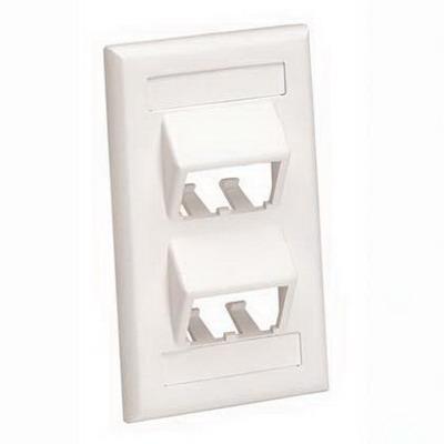 Panduit CFPSL4WHY Mini-Com® 1-Gang Sloped Faceplate; Screw, (4) UTP, STP, Fiber-Optic, A/V Port, ABS, White
