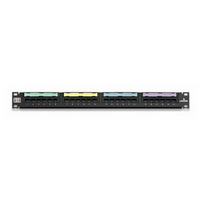 Leviton 5G596-U24 GigaMax® Universal Category 5E Patch Panel; Wall Mount, 24-Port, 1-Rack Unit, Black