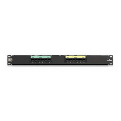 Leviton 5G596-U12 GigaMax® Universal Category 5E Patch Panel; Wall Mount, 12-Port, 1-Rack Unit, Black