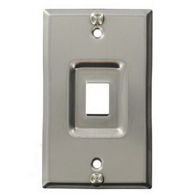Leviton 4108W-1SP 1-Gang Wallplate; Box/Flush/Recessed, (1) Port, Keystone, 302 Stainless Steel