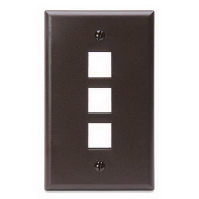 Leviton 41080-3BP 1-Gang Standard Wallplate; Box/Flush, (3) Port, High Impact Flame Retardant Plastic, Brown