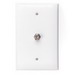 Leviton 40539-MW 1-Gang Midway Wallplate; Flush/Screw Terminal, (1) 6P4C F-Type Connector, Nylon, White