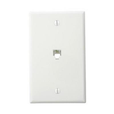 Leviton 40249-W 1-Gang Standard Wallplate; Flush/Screw, (1) 6P4C Jack, High Impact Plastic, White