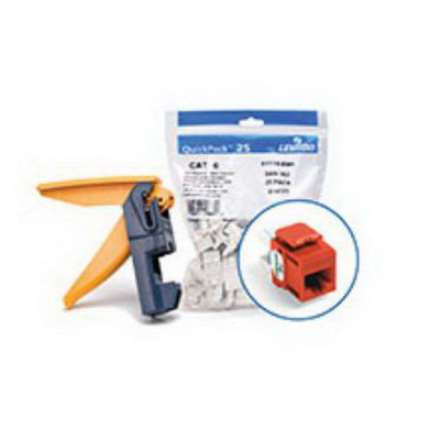 Leviton 61110-JO6 eXtreme® QuickPort® Category 6 Connector with Jack Rapid Tool; Snap-In/Panel/Wall Plate Mount, Orange, 150/Pack