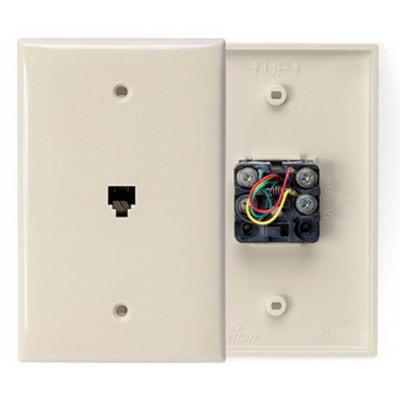 Leviton 40539-PMI 1-Gang Midway Wallplate; Flush/Screw Terminal, (1) 6P4C Jack, Nylon, Ivory