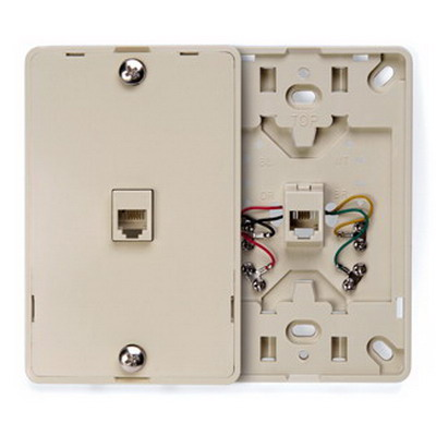 Leviton 40214-I 1-Gang Wallplate; Wall Phone/Surface, (1) 6P4C Jack, Plastic, Ivory