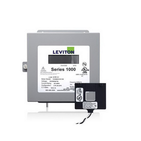 Leviton 1K120-1W Series 1000 Split Core Submeter Kit; Large LCD Display, 6.190 Inch Length x 3.250 Inch Width x 7.500 Inch Height, 120 Volt, 100 Amp, Surface Mount