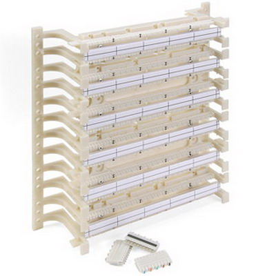 Leviton 41AB2-3F5 110-Punchdown Category 5e Wiring Base Kit; Wall/Back Board Mount, 300-Pair, Ivory