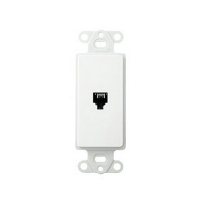 Leviton 40649-W Decora® 1-Gang Wallplate; Flush/Screw, (1) 6P4C Jack, High Impact Plastic, White