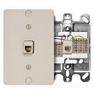 Leviton 40263-I Wall Jack Plate With Terminals; Surface Mount, Plastic, Ivory