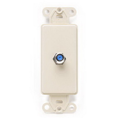 Leviton 40681-I Decora® F-Type CATV Connector Insert; Box/Wall/Flush Mount, Ivory