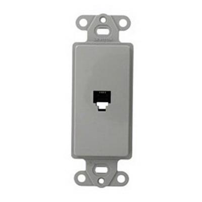 Leviton 40649-GY Decora® Wallplate; Flush/Screw, (1) 6P4C Jack, High Impact Plastic, Gray