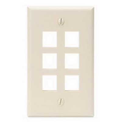 Leviton 41080-6TP 1-Gang Standard Wallplate; Box/Flush, (6) Port, High Impact Flame Retardant Plastic, Light Almond