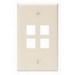 Leviton 41080-4TP 1-Gang Standard Wallplate; Box/Flush, (4) Port, High Impact Flame Retardant Plastic, Light Almond