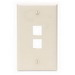 Leviton 41080-2TP 1-Gang Standard Wallplate; Box/Flush, (2) Port, High Impact Flame Retardant Plastic, Light Almond