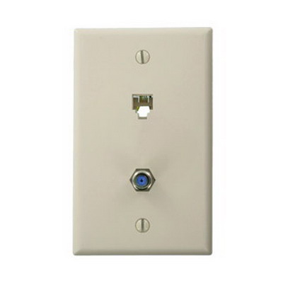Leviton 40259-T 1-Gang Standard Wallplate; Flush/Screw, (1) 6P4C Modular x (1) F-Type, High Impact Plastic, Light Almond