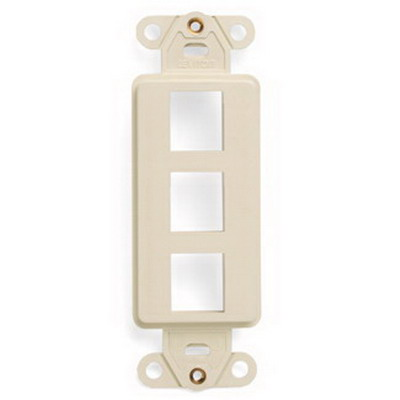 Leviton 41643-T 1-Gang Multimedia Insert; Flush, (3) Port, High Impact Flame Retardant Plastic, Light Almond