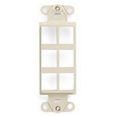 Leviton 41646-T 1-Gang Multimedia Insert; Flush, (6) Port, High Impact Flame Retardant Plastic, Light Almond