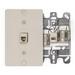 Leviton 40257-I Wallplate; Wall Phone/Surface, (1) 6P4C Jack, High Impact Plastic, Ivory