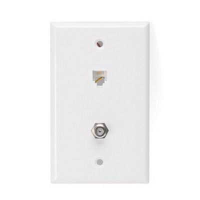 Leviton 40259-W 1-Gang Standard Wallplate; Flush/Screw, (1) 6P4C Modular x (1) F-Type, High Impact Plastic, White