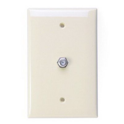 Leviton 40539-MT 1-Gang Midway Wallplate; Flush/Screw Terminal, (1) 6P4C F-Type Connector, Nylon, Light Almond