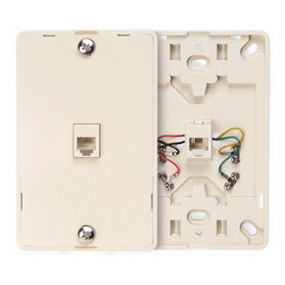 Leviton 40214-T 1-Gang Wallplate; Wall Phone/Surface, (1) 6P4C Jack, Plastic, Light Almond