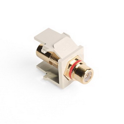 Leviton 40830-BTR QuickPort® RCA Feedthrough Female Connector; Snap-In/Surface/Flush Mount, Light Almond