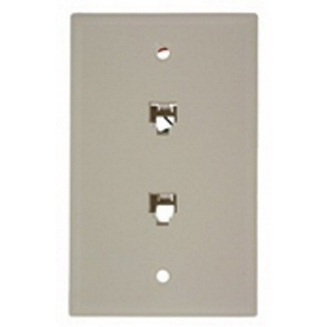 Leviton 40244-T Standard Wallplate; Flush/Screw, (2) 6P4C Jack, High Impact Plastic, Light Almond