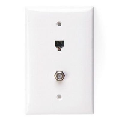 Leviton 40539-CMW 1-Gang Midway Wallplate; Flush/Screw Terminal, (1) 6P4C F-Type Connector, Nylon, White