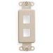 Leviton 41642-I Multimedia Insert; Flush, (2) Port, High Impact Flame Retardant Plastic, Ivory