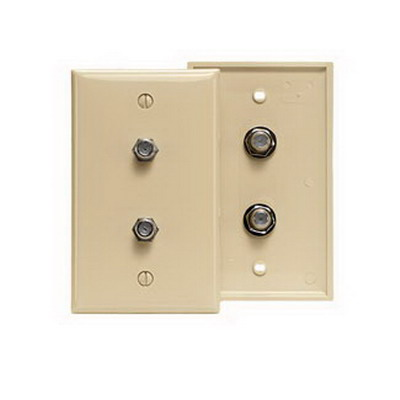 Leviton 80782-I 1-Gang Standard Wallplate; Box/Flush, (2) F-Type Connector, High Impact Flame Resistant Plastic, Ivory