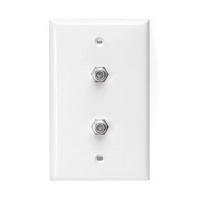 Leviton 80782-W Standard Video Coax Wall Jack Plate; Box Mount, High Impact Plastic, White