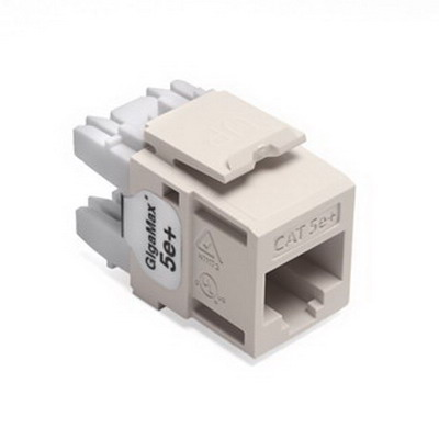 Leviton 5G110-RT5 GigaMax® QuickPort® Category 5e+ Modular Connector; Snap-In/Surface/Flush Mount, 8P8C, Light Almond