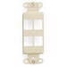 Leviton 41644-T 1-Gang Multimedia Insert; Flush, (4) Port, High Impact Flame Retardant Plastic, Light Almond