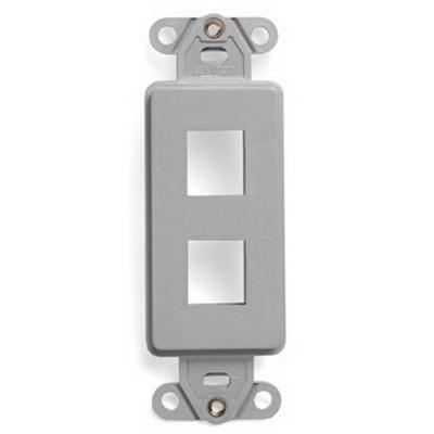 Leviton 41642-GY 1-Gang Multimedia Insert; Flush, (2) Port, High Impact Flame Retardant Plastic, Gray