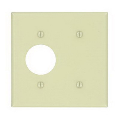 Leviton 86085 2-Gang Standard Combination Wallplate; Strap, (1) Blank, (1) Single Receptacles, Keystone, Metal, Ivory