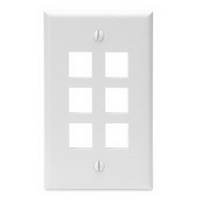 Leviton 41080-6WP 1-Gang Standard Wallplate; Box/Flush, (6) Port, High Impact Flame Retardant Plastic, White