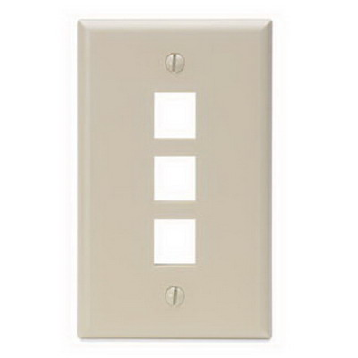 Leviton 41080-3IP 1-Gang Standard Wallplate; Box/Flush, (3) Port, High Impact Flame Retardant Plastic, Ivory