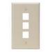 Leviton 41080-3IP 1-Gang Standard Wallplate; Box/Flush, (3) Port, High Impact Flame Retardant Plastic, Ivory