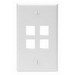 Leviton 41080-4WP 1-Gang Standard Wallplate; Box/Wall, (4) Port, High Impact Flame Retardant Plastic, White