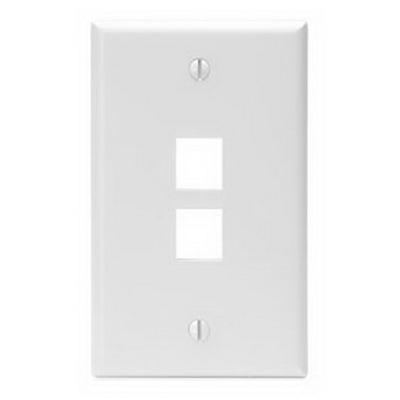 Leviton 41080-2WP 1-Gang Standard Wallplate; Box, (2) Port, High Impact Flame Retardant Plastic, White