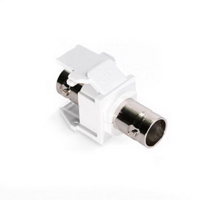 Leviton 41084-BWF QuickPort® BNC Feed-Through Connector; Snap-In Mount, Nickel-Plated Finish, White, 50 Ohm, Shielded Video and Data Cable