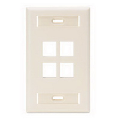 Leviton 42080-4TS 1-Gang Standard Wallplate With ID Window; Flush, (4) Port, High Impact Flame Retardant Plastic, Light Almond