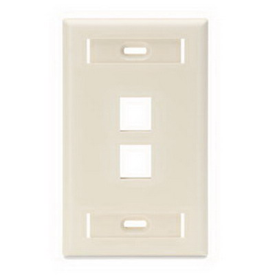 Leviton 42080-2TS 1-Gang Standard Wallplate With ID Window; Flush, (2) Port, High Impact Flame Retardant Plastic, Light Almond