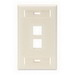 Leviton 42080-2TS 1-Gang Standard Wallplate With ID Window; Flush, (2) Port, High Impact Flame Retardant Plastic, Light Almond